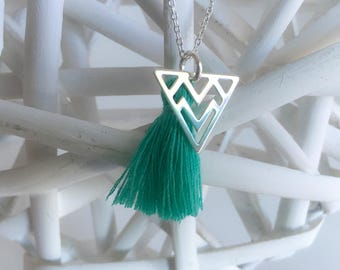 Ethnic triangle 925 sterling silver necklace