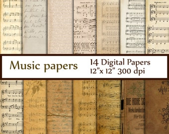 "Antique Music Digital Papers: ""MUSIC PAPERS"" Music sheet Vintage Paper Music Backgrounds Rustic Antique Music Sheets Decoupage papers"