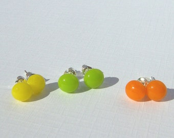 Fused Glass Stud Earrings - Earring Set - Citrus Color Glass - 3 Pairs of Zesty 1980s Retro Style Stud Earrings