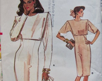Vogue 7059, Misses Size 12, 14 and 16, Semi Fitted Straight Dress, Mid Knee, Extended Shoulders, Lined Overlay with Button Trim Vintage 1987