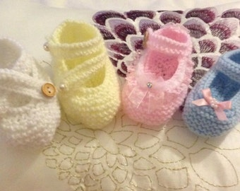 Baby Knitting patterns set of 3 Mary Janes sizes doll up to 6mths approx