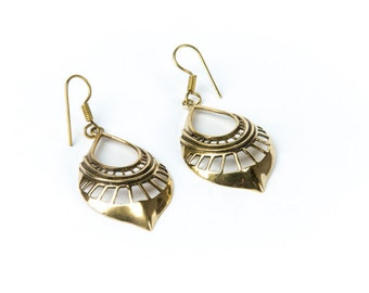 Tribal Hanging Brass Earrings Ethnic Inspired Jewellery Free UK Delivery Gift Boxed BG5