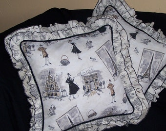 Paris Fashion Tours Tres Chic Pillow in Black, White and Ruffles Fabulous Ruffles