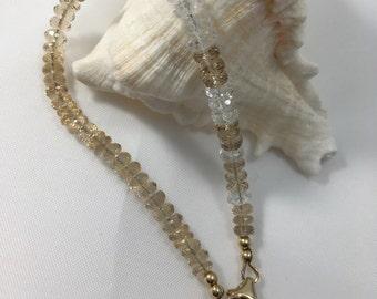 Citrine, White Topaz, Black Spinel and 14 Karat Gold Filled Bracelet-Champagne