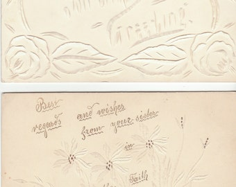 Antique GERMAN FOLK ART postcard incised lines calligraphic calligraphy 1905