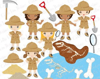 Archaeologist Kids Clipart , Explorer hat , Dinosaur invitation, Dinosaur Bone Clipart , Little Explorer Digital Clip art (CG185)