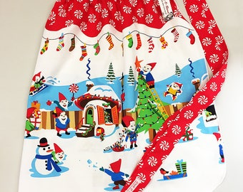 Half Apron - Vintage Pin Up Skirt Style - Christmas Elves