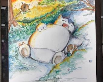 Sleeping Snorlax - Watercolor Print
