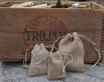 Burlap Bags with Drawstring-For Rustic Wedding Favors, Party Favors, Gift Packaging, or Herb Satchels- Natural Jute Pouch Bags in 4 Sizes