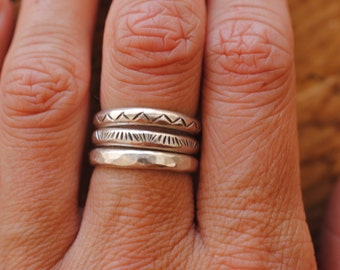 Stamped Stacking Rings | Medium Thickness | Sterling Silver