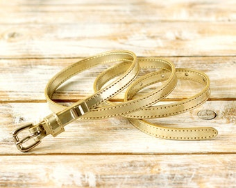 FREE SHIPPING | Gold belt, golden belt, metallic belt, faux leather belt, vegan belt, eco leather belt, golden womens belt, gift for her