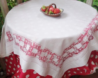 lovely vintage drawn thread spider web lace tablecloth 36x36 inches
