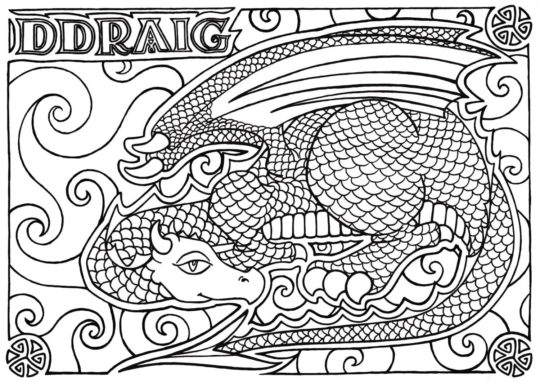 Colorear página Ddraig, palabra galesa, imprimible descargar, adulto ...