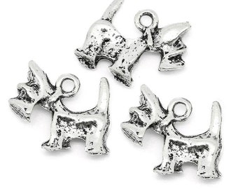 10 Pieces Antique Silver Dog Charms
