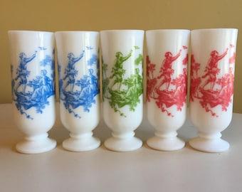 Five Vintage Avon Milk Glass Demitasse Cups