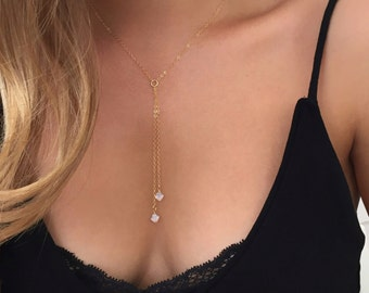 Swarovski necklace, Lariat necklace, 14k gold filled, Bridesmaids gift, Delicate necklace, Dainty necklace, Swarovski