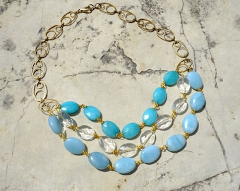 Three shade of blue necklace