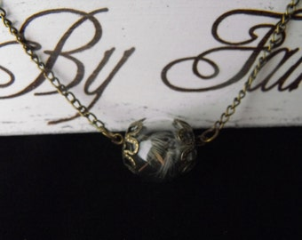 Dandelion Wishes & Fairy Kisses Horizontal Orb Necklace. **Limited availability**