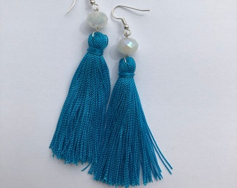 Blue Turquoise Tassel Earring With Bead