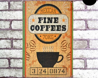 """Reproduction French enamel 'Fine Coffees""""pictured on the Metal 30x20cm"""
