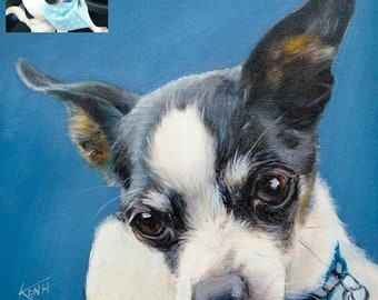 On Sale Pet portrait, Custom Pet Painting From your Photo, Oil Painting Portrait ON CANVAS unstretched, (not framed)