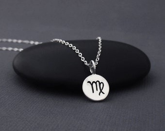 Virgo Necklace Sterling Silver Virgoi Zodiac Charm Pendant, Zodiac Jewelry, Astrological Jewelry