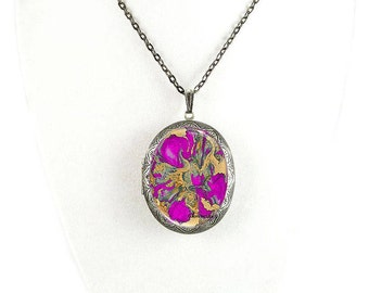 Pill Box Necklace Hand Painted Enamel Fuchsia Quartz Inspired Antique Silver Oval Locket Necklace with Color and Personalized Options