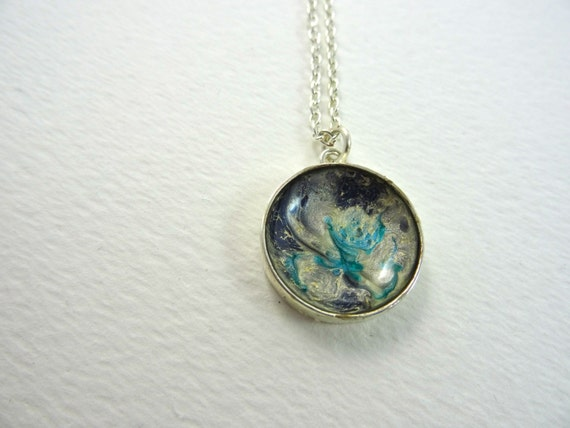 SJC10146 - Handmade necklace with abstract design round silver plated enamel painted (blue/silver) pendant with silver plated chain.