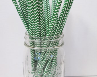 Forest Green Chevron Paper Straws - 25 Count - Birthdays, Weddings, Bridal Shower, Baby Shower