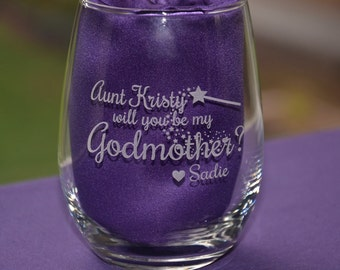 Custom Will You be My Godmother or Godfather Glass Engraved With Godchilds Name, Godmother or Godfather Proposal Christening Gift #17