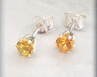 November Birthstone Earrings Stud Earrings Sterling Silver