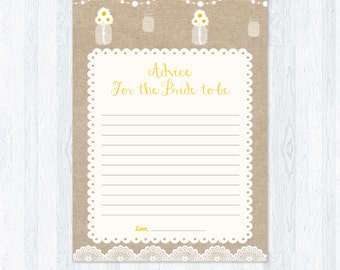 Rustic Bridal Shower Advice For The Bride-To-Be Card, Daisy in Mason Jar, Rustic Burlap Style,DIY Printable Bridal Activity,INSTANT DOWNLOAD