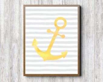 Yellow & Gray Nautical Nursery/ Kids Room Printable Wall Art - Watercolor Anchor Poster - Gender Neutral Baby Shower Decor- 8 x 10