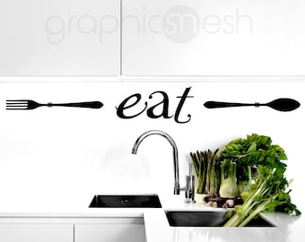 """Wall decals """"EAT"""" with fork and spoon - Vinyl lettering for Kitchen Dining decor"""