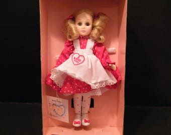NIB Effenbee With Love Valentine Doll, Vintage 1989 vinyl dolly in red dres with hearts and white pinafore, sweet gift for child 4 and up,