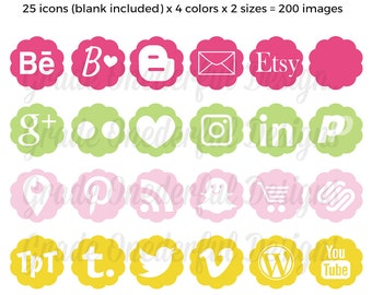 Social Media Icons, Vector Icons, Blog Buttons, Social Media Images, Social Media Graphics, Pink Yellow Green, Flower Icons Images