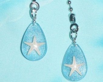 Set of Two - Starfish Teardrop Blue Ocean Sea - Free Shipping - Ceiling Fan Pull Chains