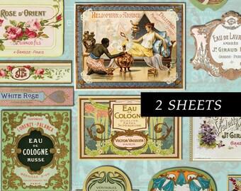 26 Vintage Perfume Labels -  2 A4 - Digital collage sheet - Instant Download