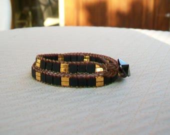 Bracelet wrap 2 tours esprit vintage