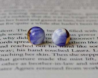 Mothers day earrings / Blue studs / Marbled studs / Ceramic earrings / Porcelain earrings / Stud earrings / Sterling silver