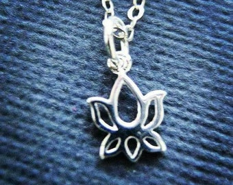 Lotus Necklace, Yoga Jewelry, Sterling Silver Jewelry