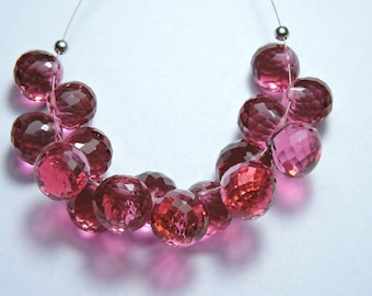 15 Pcs Very Beautiful Rubilite Pink Quartz Faceted Onion Shaped Beads Size 10-12 MM