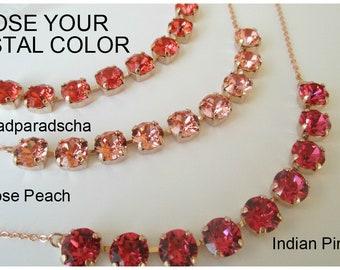 Bridesmaid Necklace, Swarovski Crystal Necklace, Indian Pink,8mm, Rose Gold Necklace, Bridesmaid Jewelry, Rose Gold Jewelry,Rose Peach, Pink