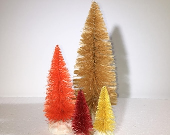 Shades of fall set of 4 sisal trees: Golden Brown, orange, red, and yellow