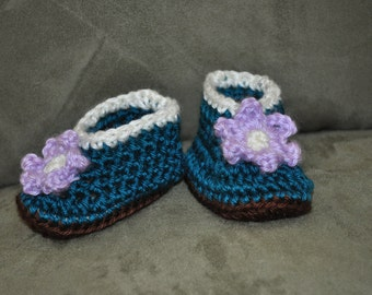 NEWBORN 0-3 Months Teal Lavender Baby Girl Bootie Shoes Shower Gift Baby Prop Lavender Flower Brown Comfortable Double Sole Knit or Crochet