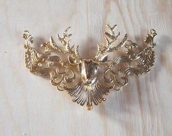 Large gold tone deer charm