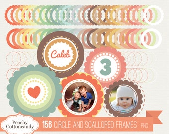 BUY 2 GET 1 FREE 156 Scalloped circle Frames Clip Art in pastel- circle Labels digital clipart - Personal and Commercial Use