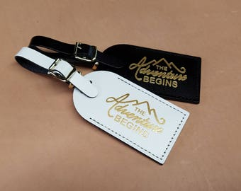 The adventure begins with Mountains Luggage Tag - Gifts - Traveler - Wedding - Birthday - Shower & More!