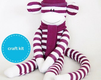 Stuffed toys, Sock Monkey Craft  Kit - Dark Purple and White Stripes, Toy Pattern