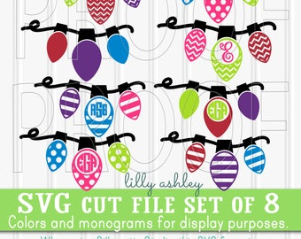 Christmas Monogram SVG Files Set of 8 cut files includes svg/png/jpg formats! Commercial use approved! {no letters included} christmas bulb